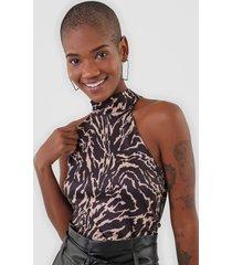 regata dimy tigre preta - preto - feminino - poliã©ster - dafiti