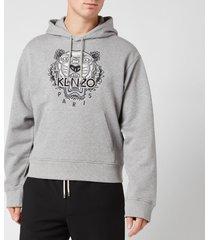 kenzo men's varsity tiger hoodie - pearl grey - xxl