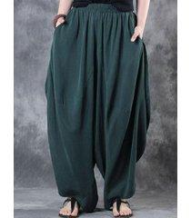 donna harem pantaloni sciolti a vita elastica in colore a tinta untia