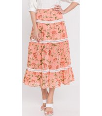 endless rose coral pink vine print skirt