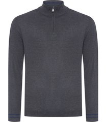 blusa masculina tricot gola alta jacquard - cinza