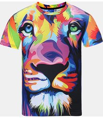 summer casual tee top 3d colorful cute lion printed round collo t-shirt manica corta da uomo