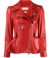alexander mcqueen peplum hem biker jacket - red