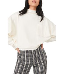 free people rae organic cotton blend funnel neck pullover, size large in ivory at nordstrom