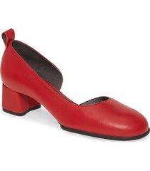 women's camper katie half d'orsay pump, size 5us - red