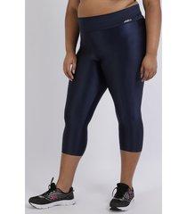 calça feminina plus size corsário com recortes cintura alta azul marinho