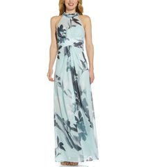 adrianna papell printed-chiffon halter gown
