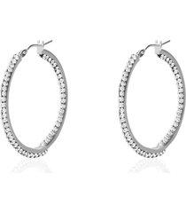 orecchini a cerchio in oro bianco e strass per donna