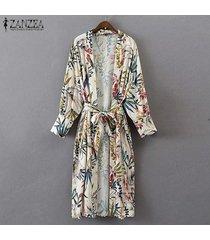 zanzea mujeres de manga larga midi capa de la chaqueta de vestir exteriores de la rebeca de la correa del lazo del kimono floral -blanco