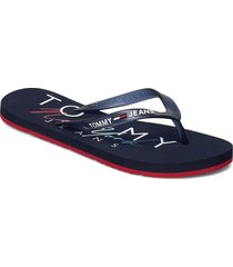 rubber thong beach sandal shoes summer shoes flip flops blå tommy hilfiger