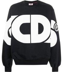 gcds oversized logo print sweatshirt - black