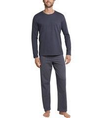 schiesser pyjama effen shirt print broek