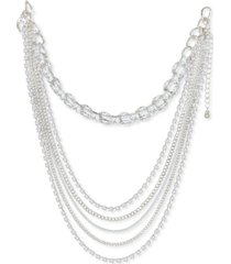 """thalia sodi silver-tone crystal layered strand necklace, 12"""" + 3"""" extender, created for macy's"""