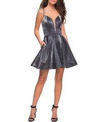 women's la femme satin fit & flare cocktail dress, size 10 - grey