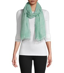 la fiorentina women's fringed trim scarf - green