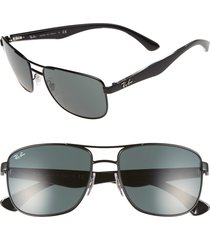 men's ray-ban 57mm aviator sunglasses - black/ grey green gradient
