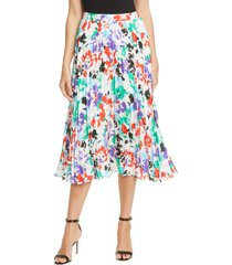 women's tanya taylor jeana floral pleated midi skirt, size 12 - white