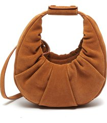 'mini soft moon' ruched suede leather crossbody bag