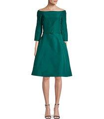 belted off-the-shoulder silk fit-&-flare dress