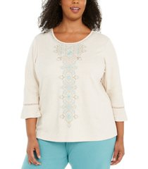 alfred dunner plus size cottage charm embroidered top