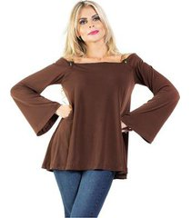 blusa bata decote ombro a ombro detalhe couro dourado manga flare marromalphorria