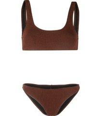 reina olga rocky crinkle bikini - brown