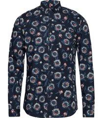 aop l/s shirt skjorta casual blå lindbergh