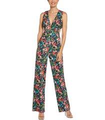 aidan by aidan mattox floral-print jumpsuit