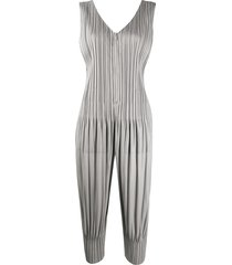 pleats please issey miyake zipped pleated jumpsuit - grey