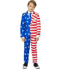 boy's suitmeister kids' usa flag two-piece suit with tie (big boy)