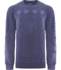 moletom masculino replay stars - azul