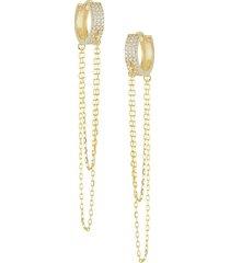 chloe & madison women's 14k gold vermeil & crystal chain huggie earrings