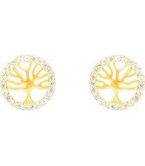 orecchini a lobo albero della vita in oro giallo e zirconi per donna