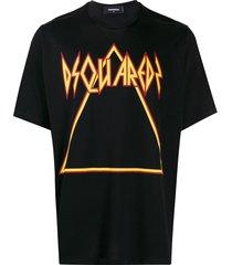 dsquared2 printed triangle logo t-shirt - black