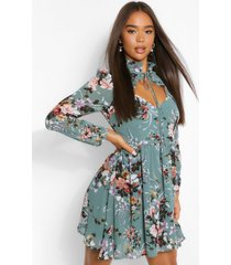 floral print high neck cut out skater dress, sage