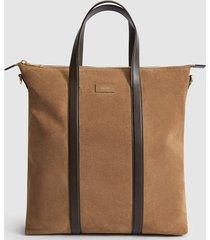 reiss huxley - suede tote bag in camel, mens