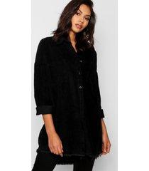 oversized corduroy blouse met onbewerkte zoom, zwart
