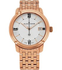 alexander watch a111b-08, stainless steel rose gold tone case on stainless steel rose gold tone bracelet
