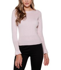 belldini black label boat neck sweater with flounce sleeves