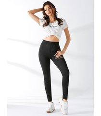 yoins negro ripped diseño skinny de cintura alta pantalones