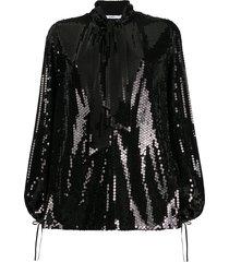 amen sequin pussy bow blouse - black