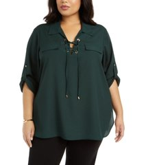 calvin klein plus size lace-up roll-tab-sleeve top