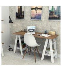 mesa escrivaninha self castanho e branco appunto móveis