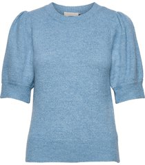 angie knit tee t-shirts & tops knitted t-shirts/tops blå minus