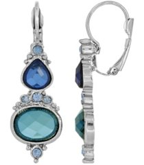 2028 women's silver tone blue drop earrings