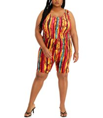 full circle trends trendy plus size printed tank top & shorts set