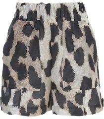 ganni silk linen shorts animalier