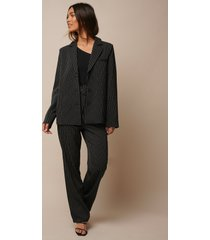donnaromina x na-kd pinstriped straight suit pants - black