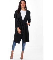 belted waterfall coat, black