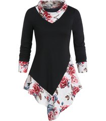 flower print asymmetrical cowl neck long sleeve tunic tee